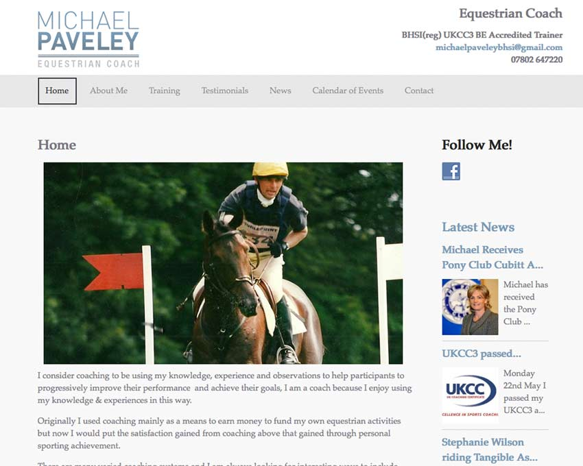 Michael Paveley Equestrian Coach Website
