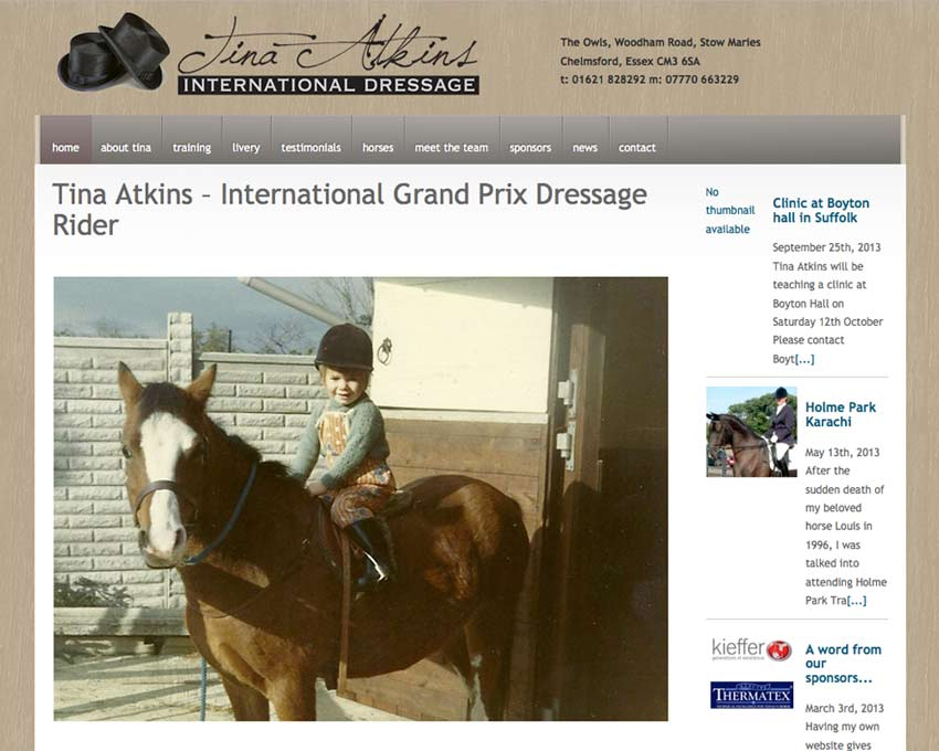 Tina Atkins International Dressage Website